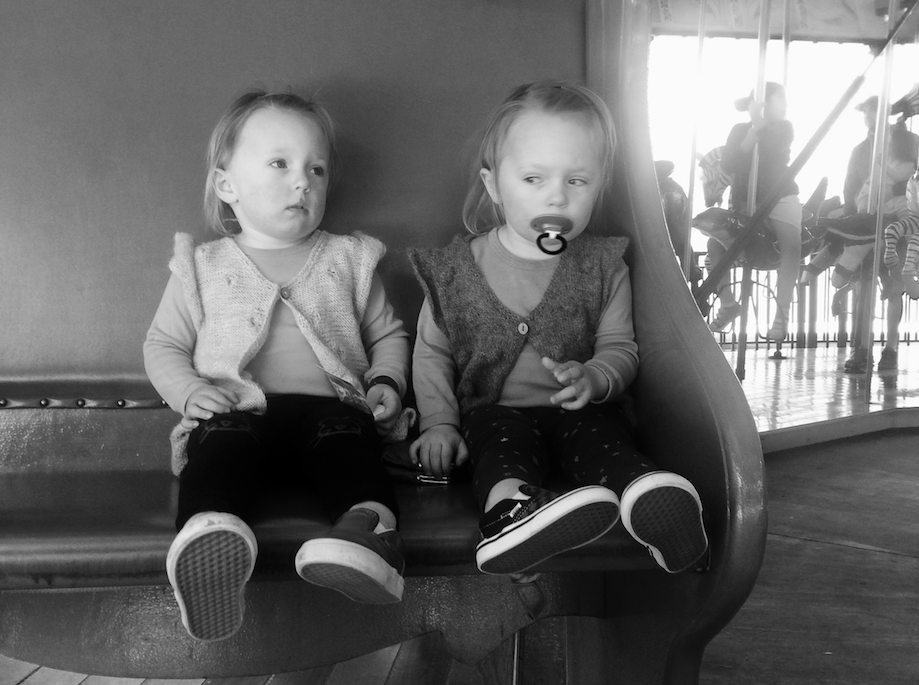 Girls on carousel