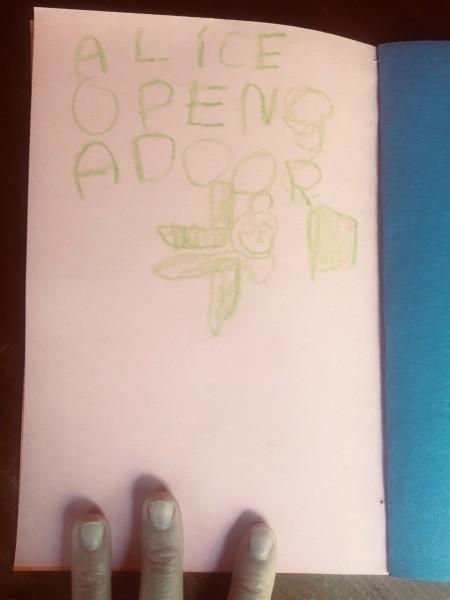 Alice opens door.