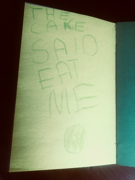 The cake said eat me.